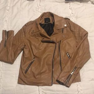 Caramel Brown Faux Leather Jacket